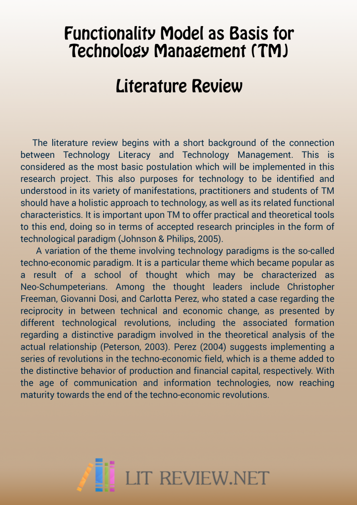 research proposal literature review sample