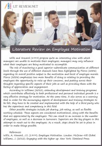 literature review on employee motivation