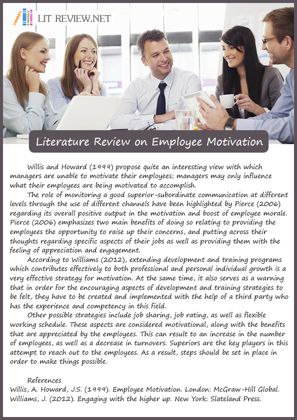 review of literature on employee motivation Public-sector work motivation: a review of the current literature and a revised conceptual model bradley e wright university at albany-suny abstract.